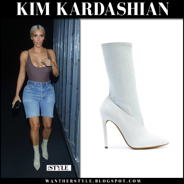 Kim Kardashian in white sock yeezy boots and denim shorts september 14 2017 fashion