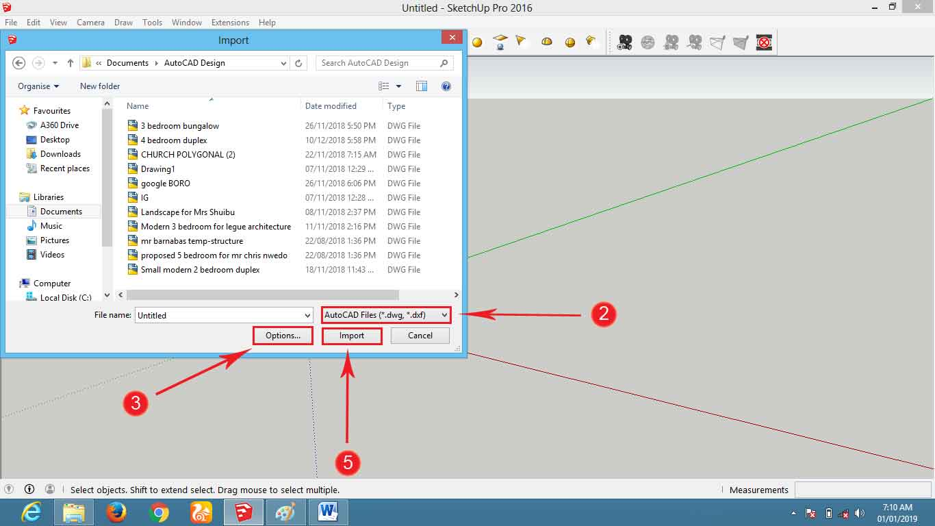Steps to import Autocad to Sketchup ~ Architecture | 3D Visualization
