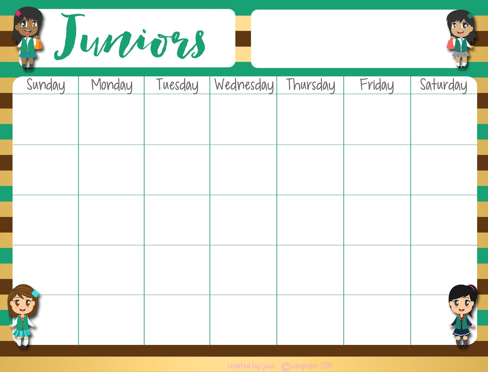Fashionable moms girl scouts daisies free calendar word format