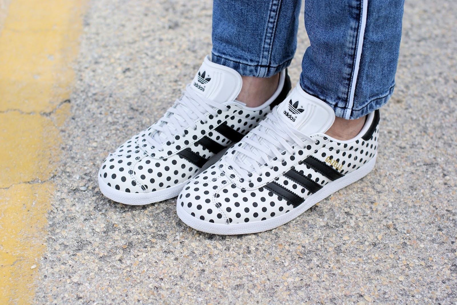 polka dot adidas Gazelle sneakers on Fashion and Cookies fashion blog, fashion blogger style
