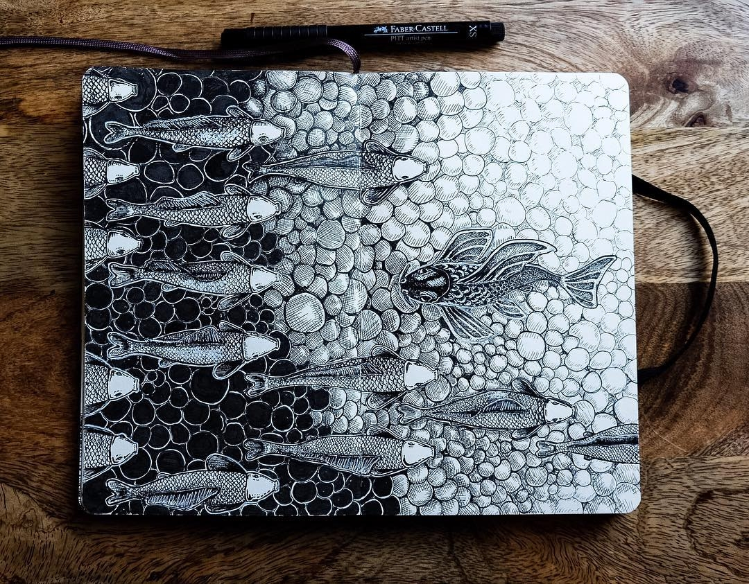 08-Swimming-Against-the-Flow-mrc_artworks-Sketching-Inspirations-on-a-Moleskine-Notebook-www-designstack-co