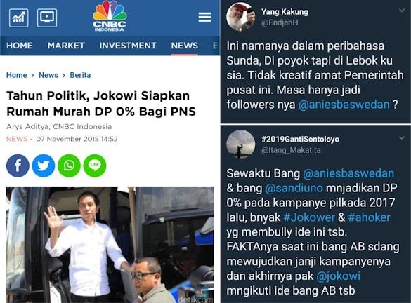 Warganet Ngakak! Dulu Anies-Sandi Dibully, Sekarang DP 0 Ditiru Jokowi