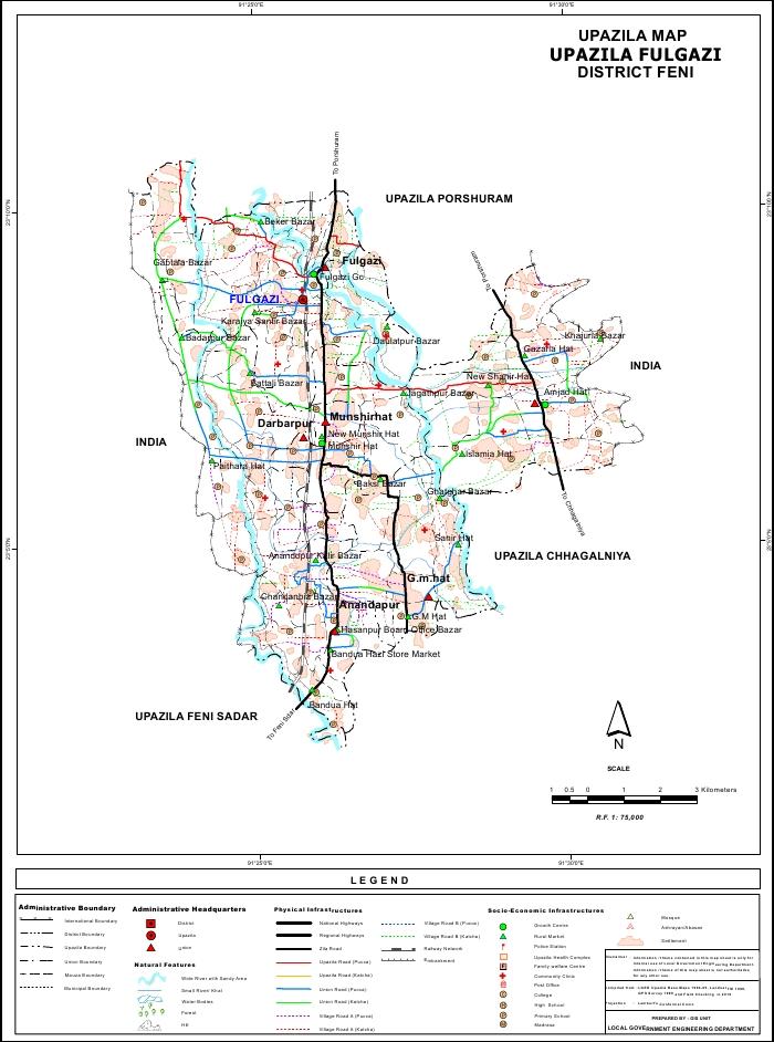 Fulgazi Upazila Map Feni District Bangladesh