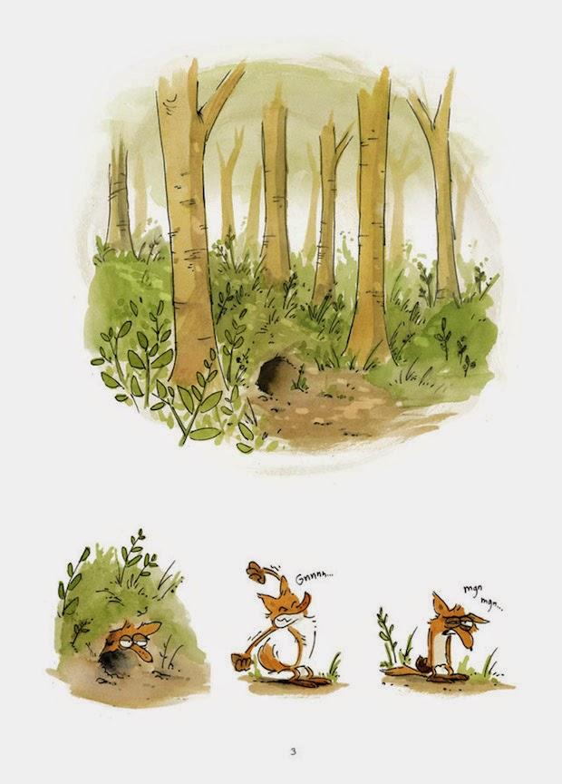 Viñetas en las que el zorro se despierta y sale de su madriguera