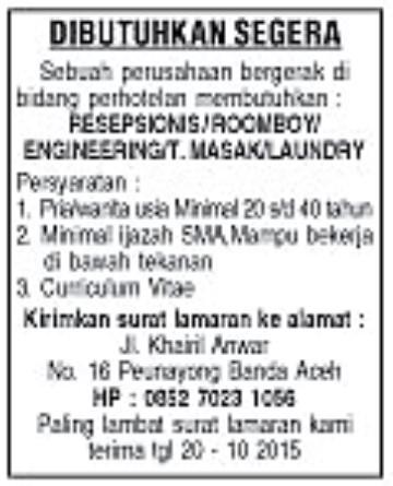 Lowongan Kerja Di Banda Aceh