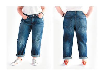 Классические широкие джинсы бойфренды на полной женщине