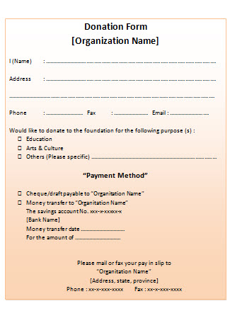 Non Profit Donation Receipt Blank Template - Free Word and JPG - Donation Form Templates