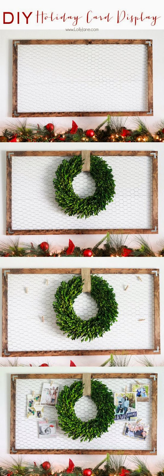Susieqtpies cafe top creative holiday card display ideas - Christmas card display ideas ...