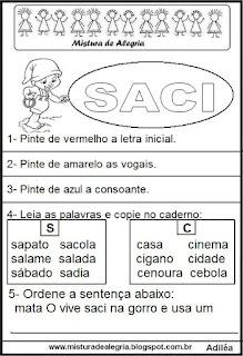 Atividades sobre folclore, Saci