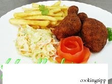 Maryland chicken with coleslaw salad and chips Recipe