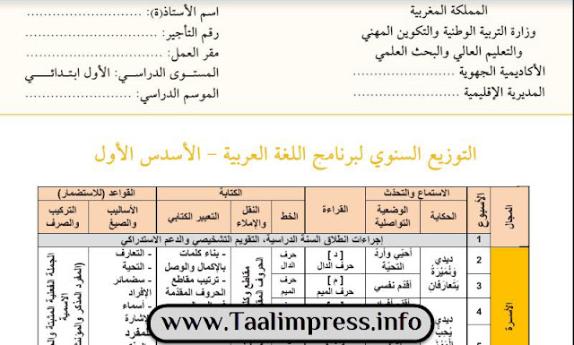 التوزيع السنوي لبرنامج اللغة العربية وفق مرجع كتابي في اللغة العربية للمستوى الأول - شتنبر 2018