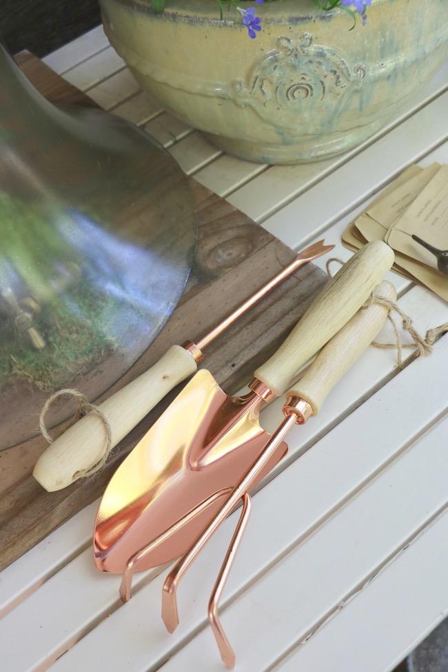 spring tour of gardener's potting bench copper look hand tools