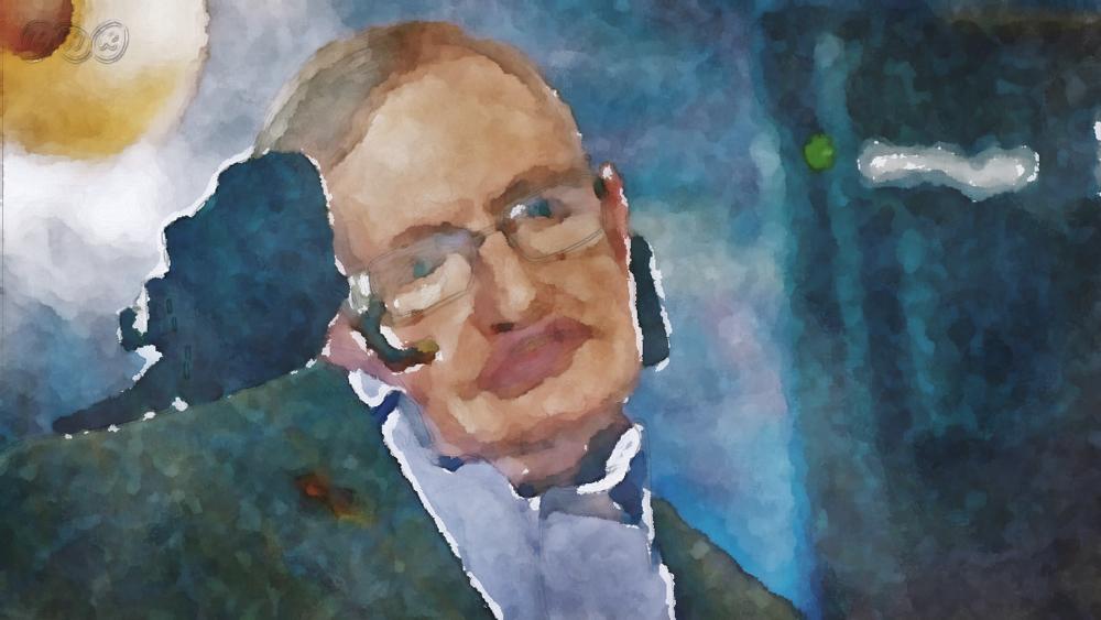 水彩画のスティーブン・ホーキング