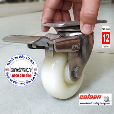 Bánh xe nhựa có khóa càng inox 3 inch Colson | 2-3356SS-254-BRK4 www.banhxedaycolson.com