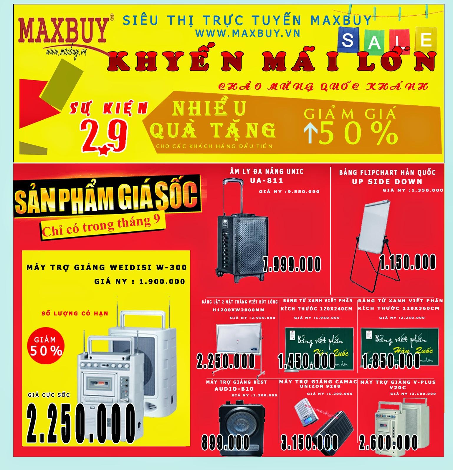 Maxbuy khuyến mãi rất nhiều sản phẩm lên tới 50%