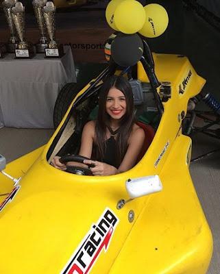 Benafsha in a race Car