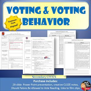 https://www.teacherspayteachers.com/Product/Voting-and-Voting-Behavior-Power-Point-Reading-Activity-Civics-2345181
