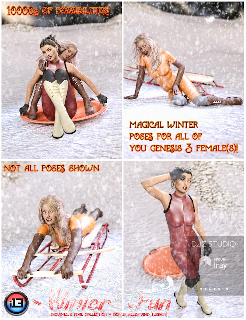 i13 Winter Fun Pose Collection for the Genesis 3 Female