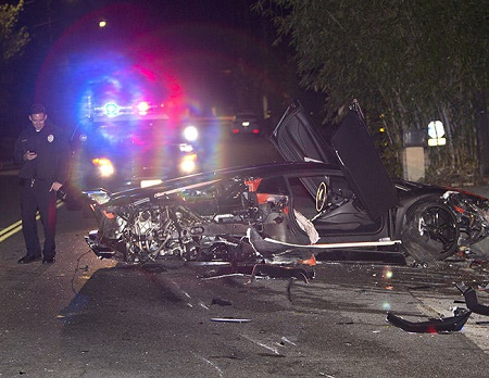 chris brown lambo crashed