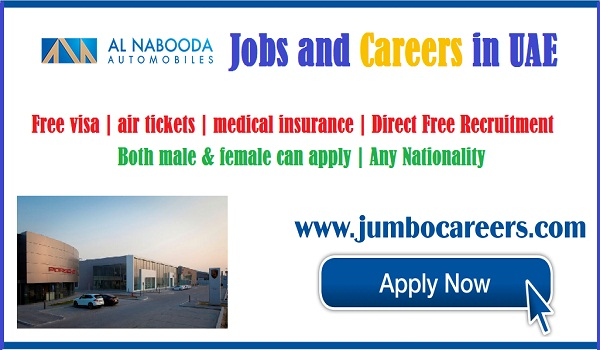 Direct free recruitment jobs in UAE, UAE jobs for Indians, Al Nabooda Automobiles jobs at Sharjah | Al Nabooda Automobiles jobs at Fujairah | Al Nabooda Automobiles jobs with Free recruitment