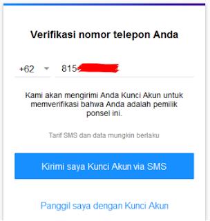 Pengiriman kode verifikasi melalui SMS
