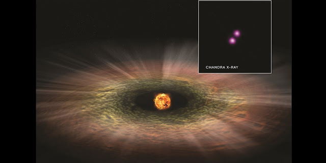 A new study of the TW Hya association suggests that young stars much less massive than the Sun can unleash a torrent of X-rays, which can significantly shorten the lifetime of disks surrounding them. These disks, as depicted in this artist's illustration, are where planets will ultimately form so scientists may have to revisit the star formation process and the early lives of planets around such faint stars. This new finding is based on Chandra observations of TW Hya, a sample of which is seen in the inset, and data from several other telescopes. Credits: X-ray: NASA/CXC/RIT/J. Kastner et al; Illustration: NASA/CXC/M.Weiss