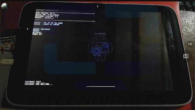 Fastboot tablet Canaima. Pantalla en negro con logo de Android.