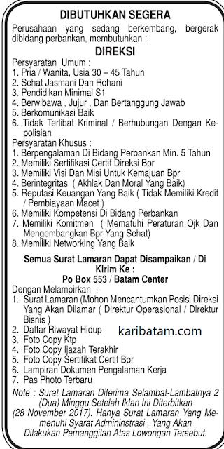 Lowongan Kerja PO BOX 553 Batam Centre