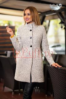 palton dama de lana trei sferturi elegant de iarna