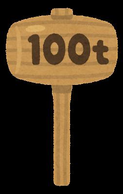 重い木のハンマーのイラスト(100t)