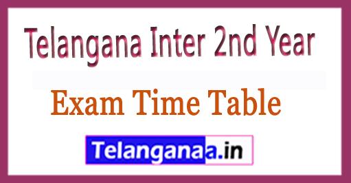 Telangana Inter 2nd Year Exam Time Table 2018 Download
