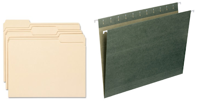 manila file folder and green hanging file folder