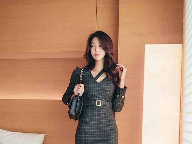 Park Jung Yoon - Grey Cubed Dress #5