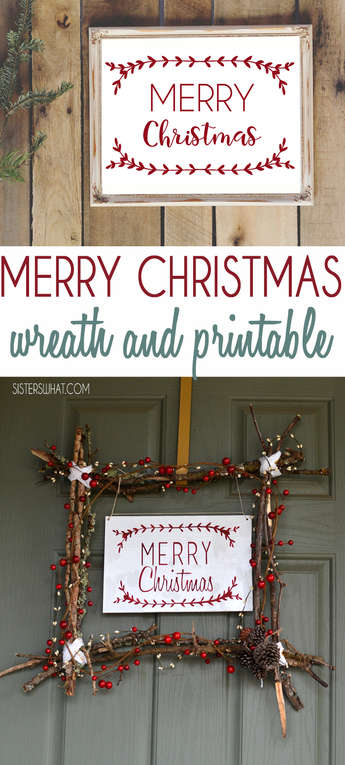 Merry Christmas Scandinavian Christmas wreath and free Merry Christmas Printable