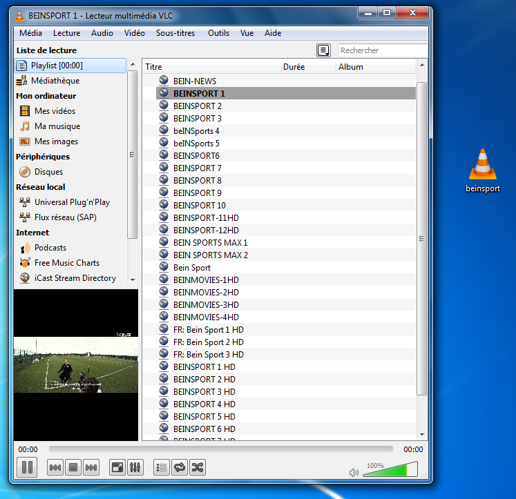 ملف IPTV لمشاهدة قنوات BEIN SPORT مجانا علي الكمبيوتر