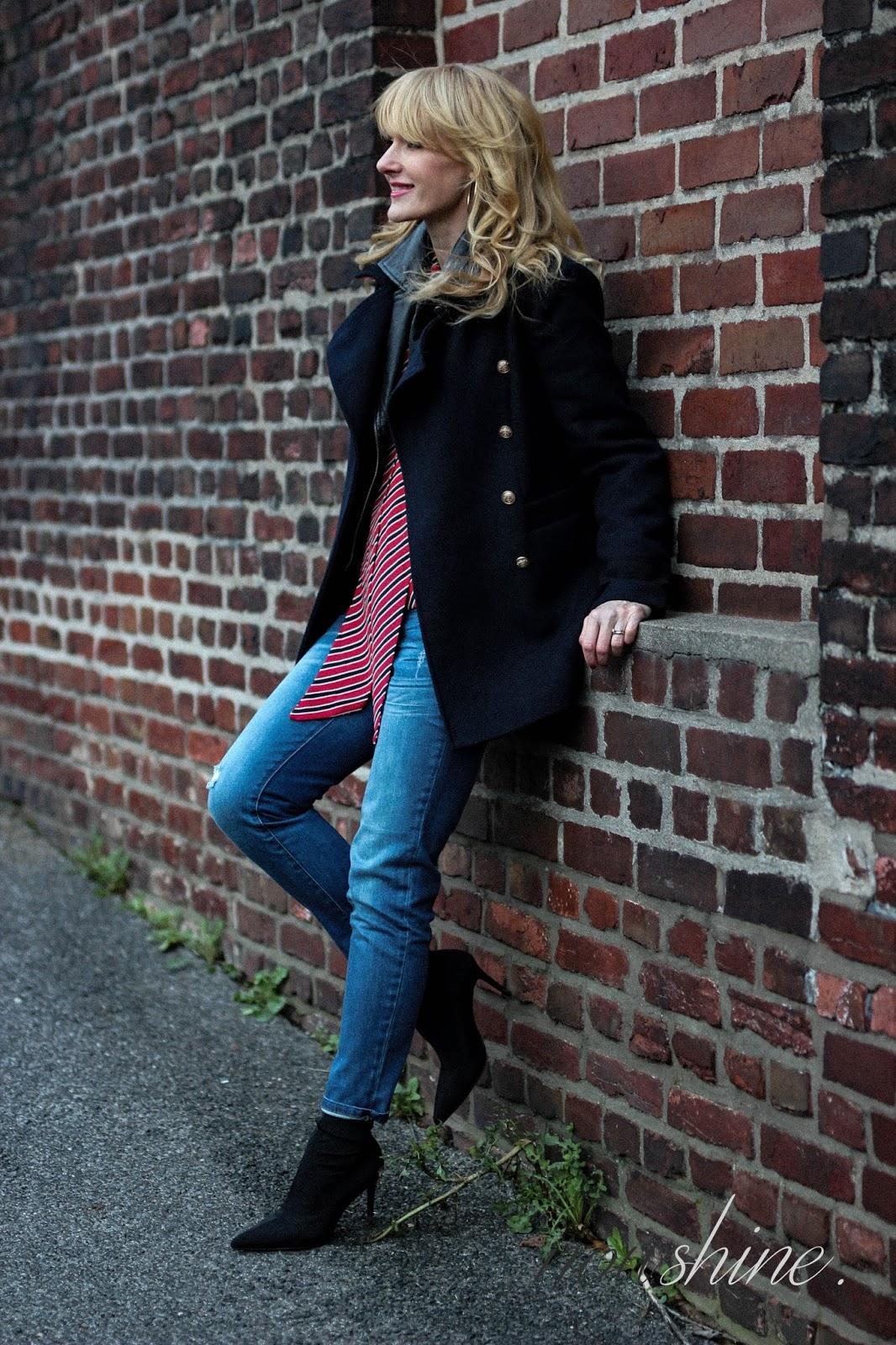 Nowshine trägt Lederjacke unter Winterjacke ü40 Mode Blog