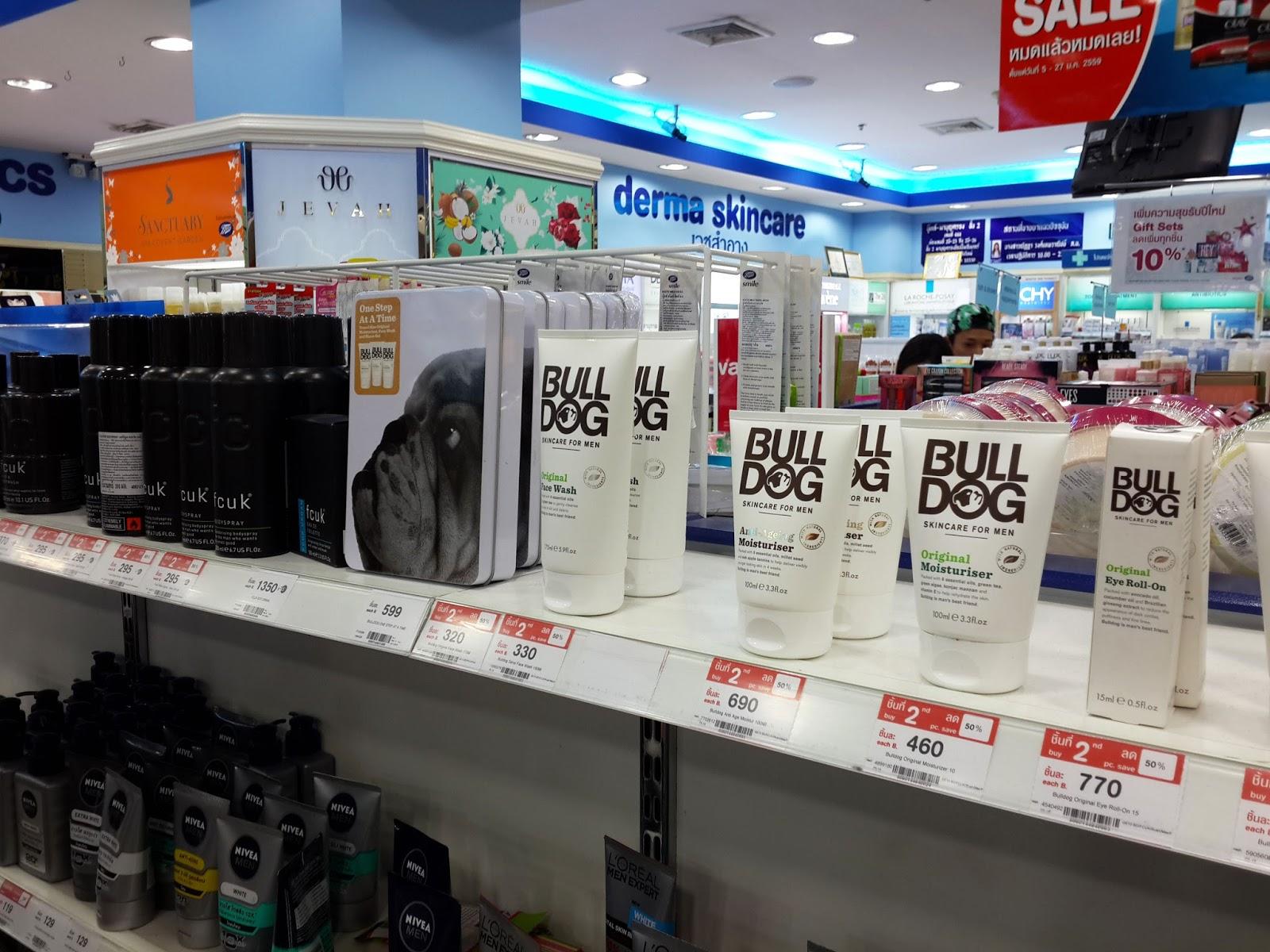 fcuk, bulldog men drugstore skincare bangkok