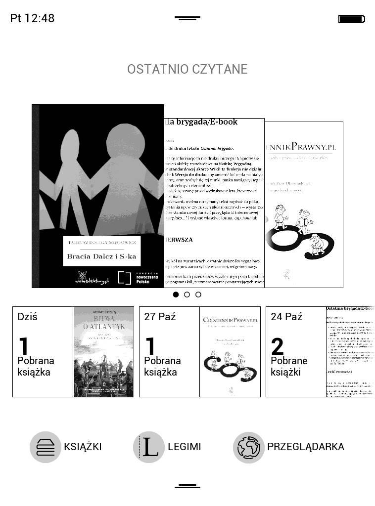Ekran startowy w Pocketbook Touch Lux 4