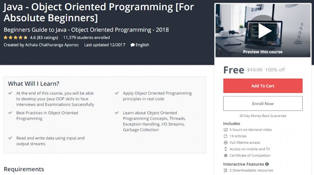 [100% Off] Java - Object Oriented Programming [For Absolute Beginners]| Worth 19,99$