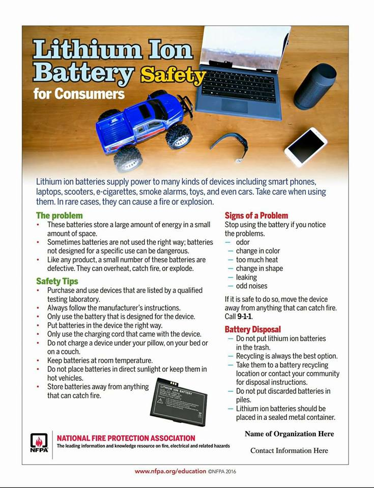Lower Eastern Shore News Lithium Ion Battery Safety