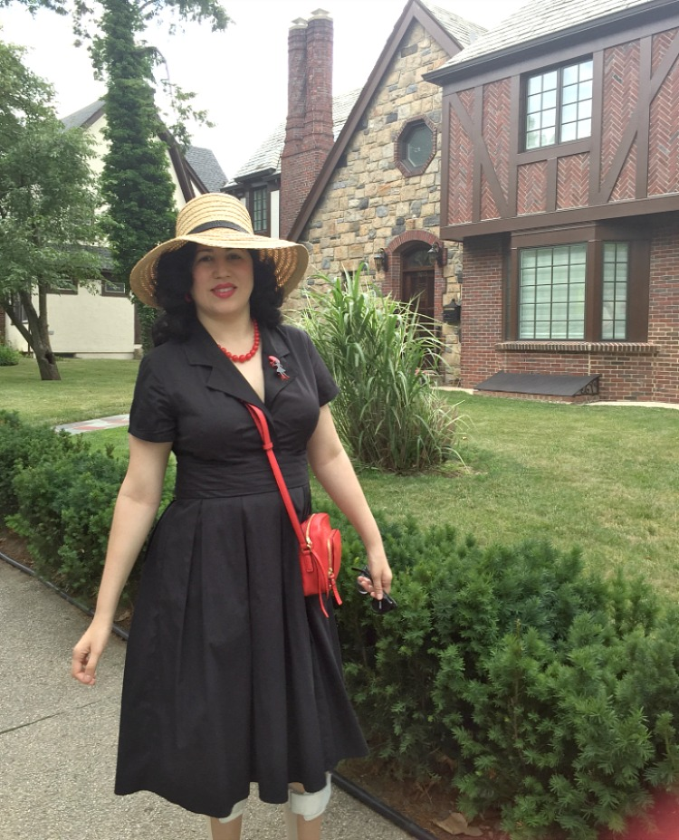 A Vintage Nerd Kate Spade Straw Hat eShakti Black Dress Retro Fashion Inspiration