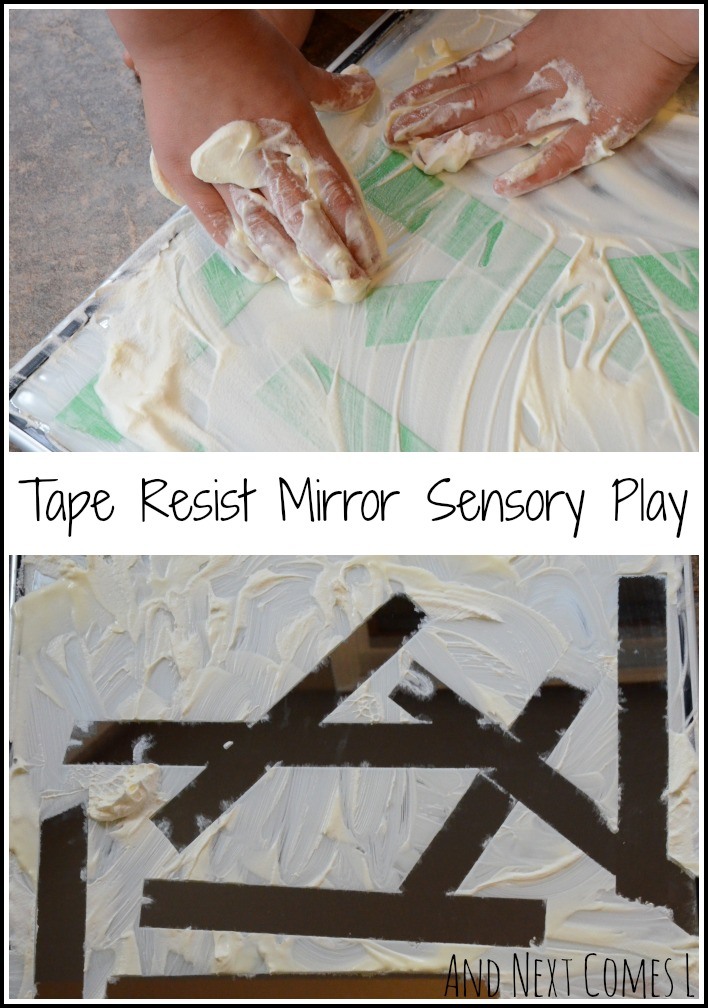 Tape resist mirror sensory play inspired by animal prints from And Next Comes L