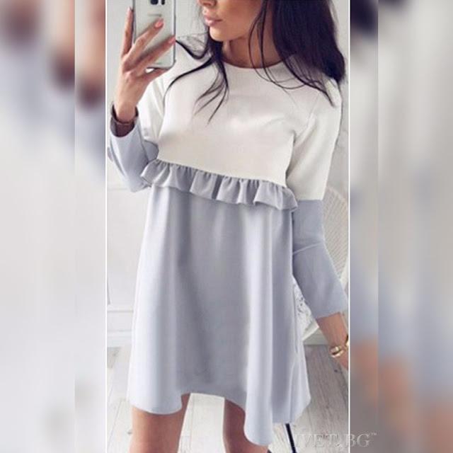 Μακρυμάνικο λευκό με γκρί μπλουζοφόρεμα DIONA GREY