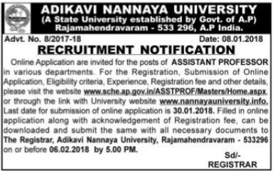 adikavi nannaya university associate assistant professors recruitment 2018,aknu professors recruitment application form,akmu professors selection list results