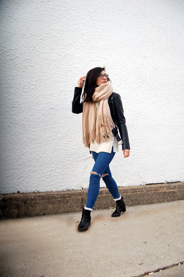 blanket scarf, leather jacket, jeans, ankle boots