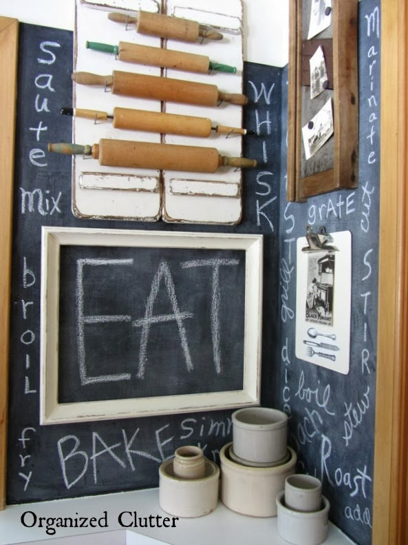 Chalkboard Verb Wall Farmhouse Kitchen www.organizedclutterqueen.blogspot.com