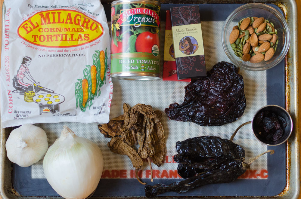 Ingredients for making a classic Mexican mole poblano sauce