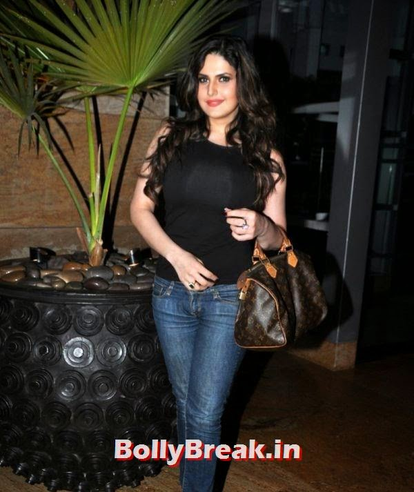 , Zareen Khan Pics in Black Top & tight Jeans