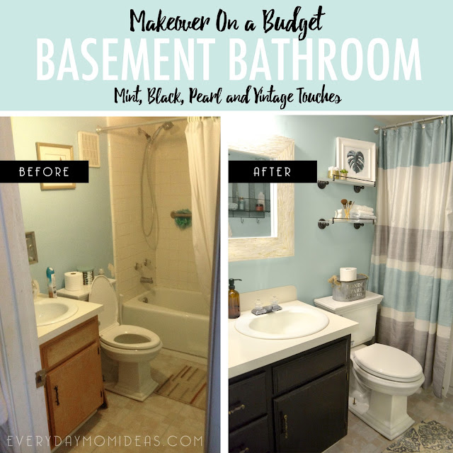 Basement Bathroom Makeover On A Budget Mint Black Pearl And A Vintage Touch Everyday Mom