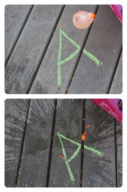 preschool alphabet activity using water